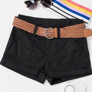 Black Cotton Twill Shorts with Braided Belt!